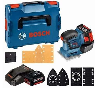 Bosch Professional GSS 18V-10 - Lijadora orbital a batería (2 baterías x 5.0 Ah, 18V, plato lijador 113 x 101 mm, microfiltro, sin batería, en L-BOXX)