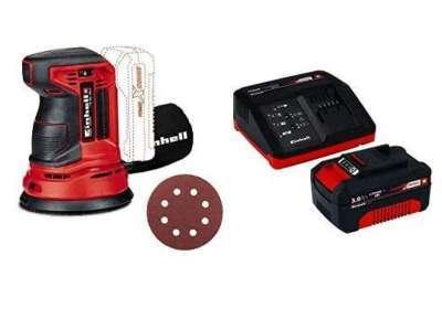 Einhell 4462010 Lijadora Excentrica Electronica TE-RS 18 li, 0 W, 18 V, Rojo + Power X-Change Kit cargador con batería, tiempo de carga de 60 minutos