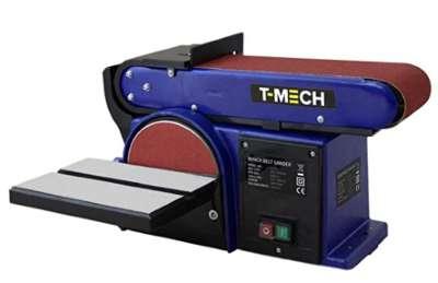 T-Mech Lijadora de plato, banda pivotable con tope   500W función de lijado de disco y banda  Lijadora Electrica de Mesa